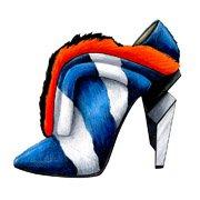 "Shoes:00053 ""FENDI"" Zebra-Print Calf Hair Fur-Trimmed Ankle Boots(FW2013)"