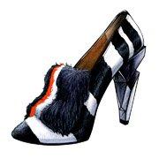 """Shoes:00054 """"FENDI"""" Leather Fur-Trimmed Pumps(FW2013)"""