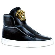 "『L'Officiel Hommes Italia』Fall/Winter 2014-15 5th anniversary issue』挿絵(2014年)""VERSACE"" Black Leather Medusa High-Top Sneakers."