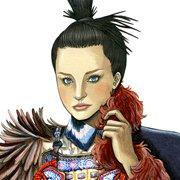 """""""Miranda Kerr""""『FIGARO japon 1月号(No,463)』(阪急コミュニケーションズ)村上香住子さんエッセイ""""グー・チョキ・パリ!""""挿絵(2014年)より"""
